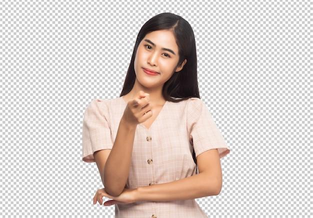 웃는 젊은 아시아 비즈니스 여자의 초상화 프리미엄 PSD 파일