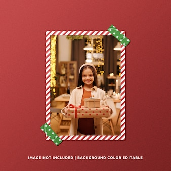 Portrait paper frame mockup for christmas
