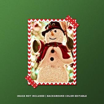 クリスマスの肖像画の紙フレームのモックアップ