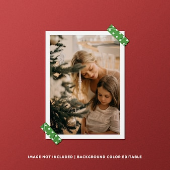 Portrait paper frame photo mockup for christmas