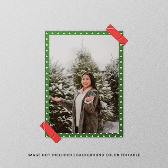 Портретная бумажная рамка для фото, мокап на рождество