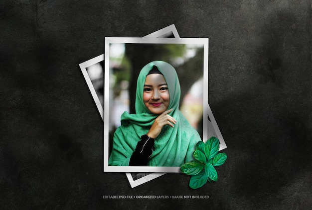 Portrait photo frame set with shadow overlay