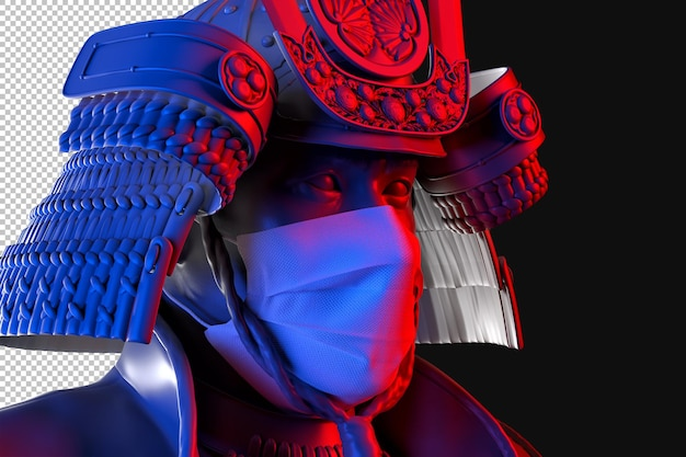 Portrait of samurai wearing medical protective face mask rendering