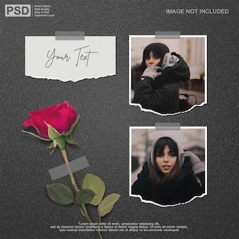 Портрет рваной бумаги фоторамка макет с цветочным фоном