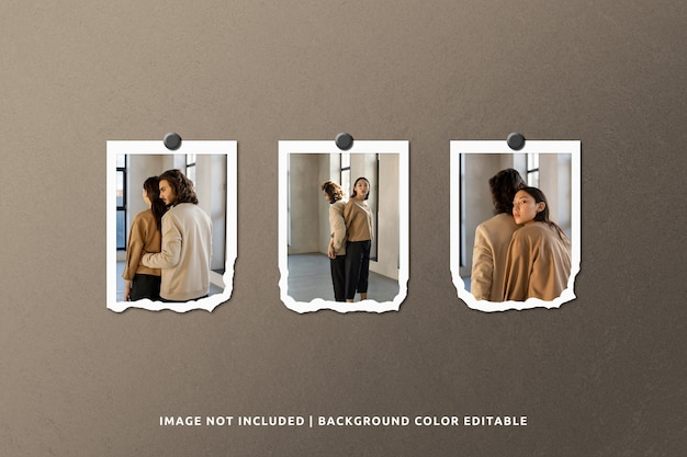 Portrait torn paper photo frame mockup