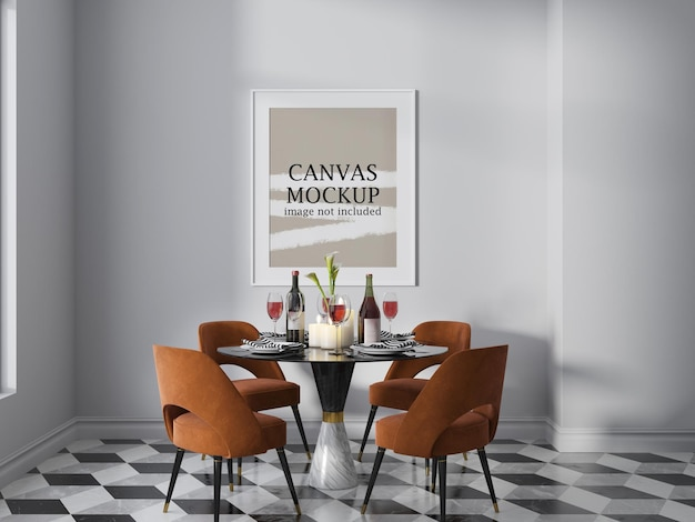 Portrait wall canvas poster mockup in dining room