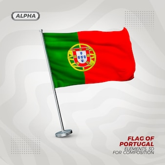 Portugal realistic 3d textured flag