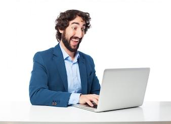 Positive executive writing an email