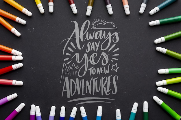 Положительная цитата с рамкой маркеров