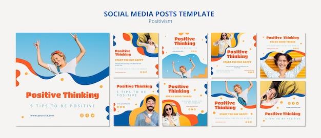 포지티브 개념 소셜 미디어 게시물