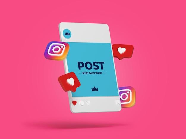Post instagram mockup design isolated