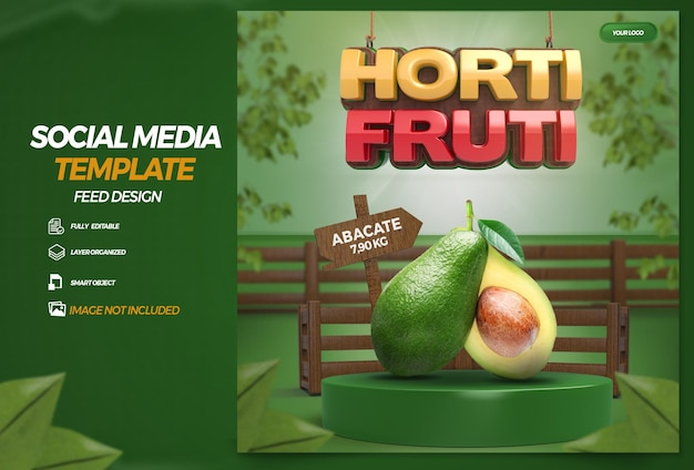 Post social media 3d label grocery store composition for supermarket campaign portuguese