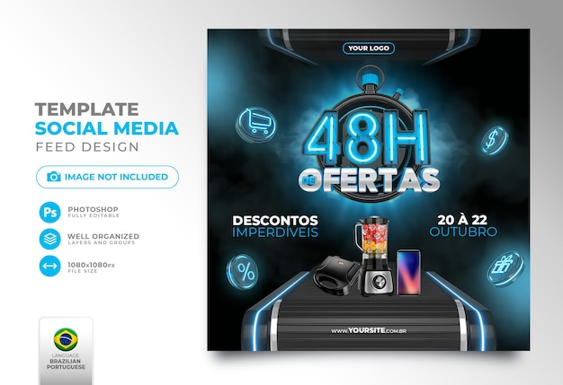 ソーシャルメディアを投稿するブラジルでの48時間のオファーは、マーケティング用にポルトガル語で3dテンプレートをレンダリングします