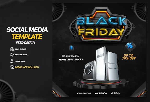 Post social media black friday with podium for compositio