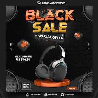 Post social media black sale 3d render template design