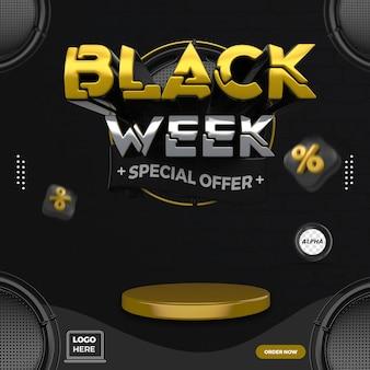 Post social media black week 3d render template design