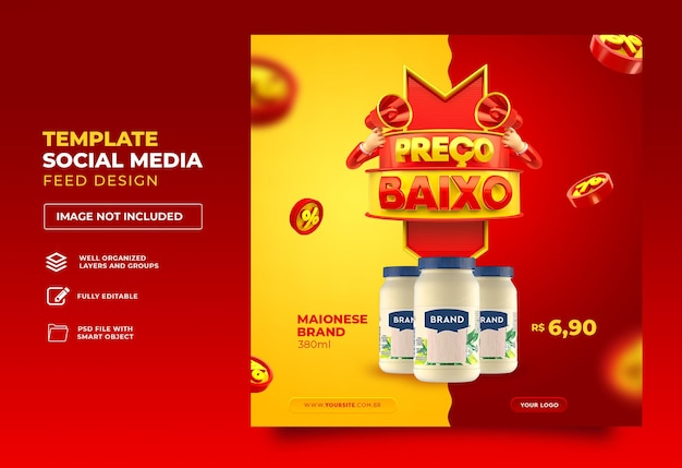 Post social media in brazil low price 3d render template design portuguese