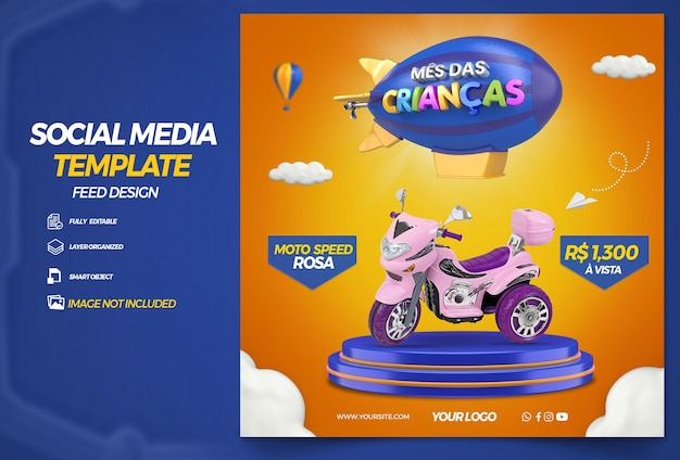 Post social media childrens month for composition in brazil design in portuguese