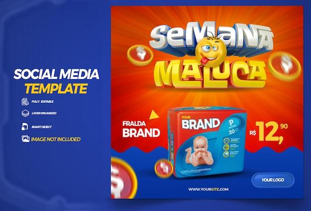 Post social media crazy week in brazil 3d render template design in portuguese