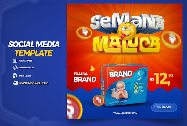 ポルトガル語でブラジルの3dレンダリングテンプレートデザインでソーシャルメディアクレイジーウィークを投稿する