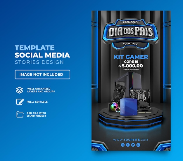Post social media fathers day  3d render template design in portuguese day