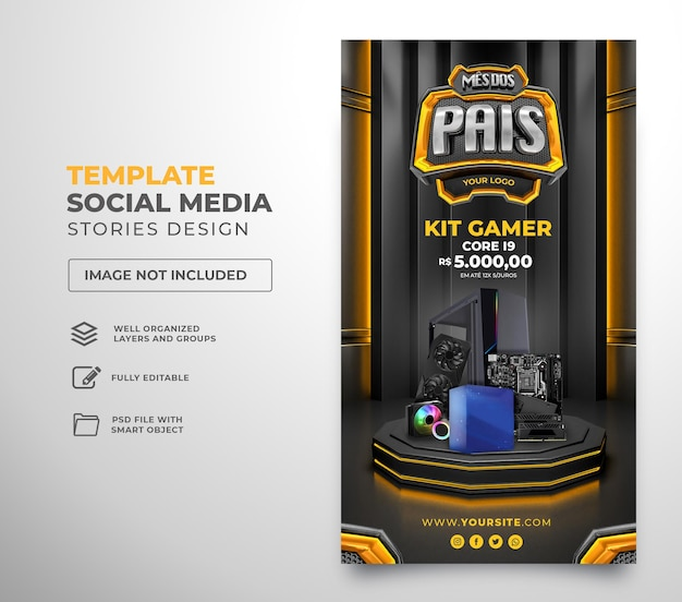 Post social media fathers month  3d render template design in portuguese happy father day