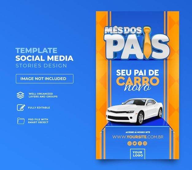 Post social media fathers month in brazil 3d render template design