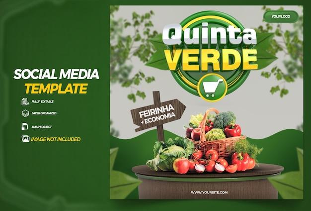 Post social media green thursday in brazil 3d render template design in portuguese