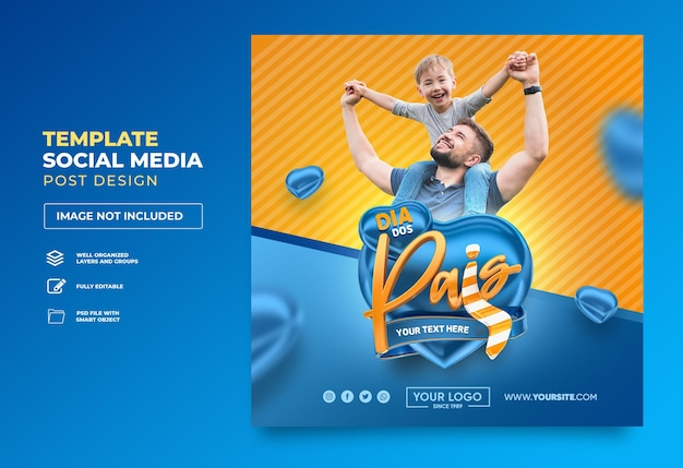 Post social media happy fathers day in brazil 3d render template design heart
