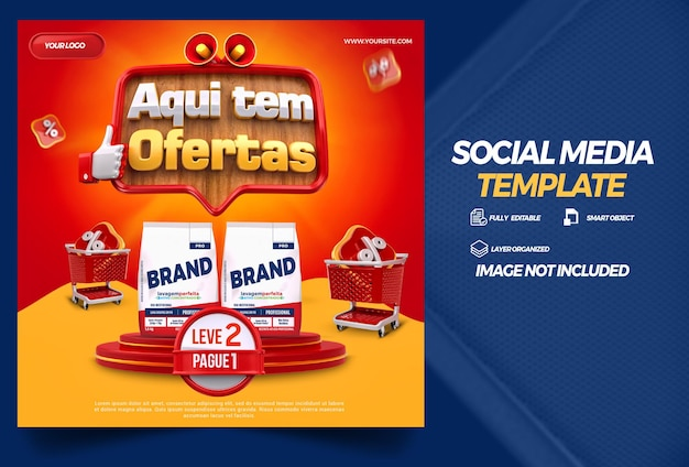 Post social media here are offers in brazil 3d render template design in portuguese