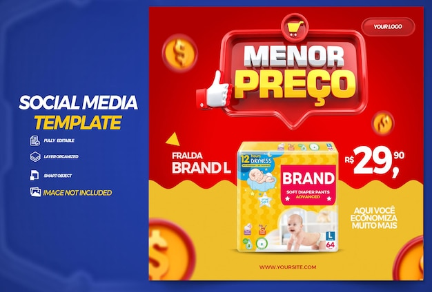 ブラジルの雑貨店向けにソーシャルメディアの最低価格の3dレンダリングを投稿する