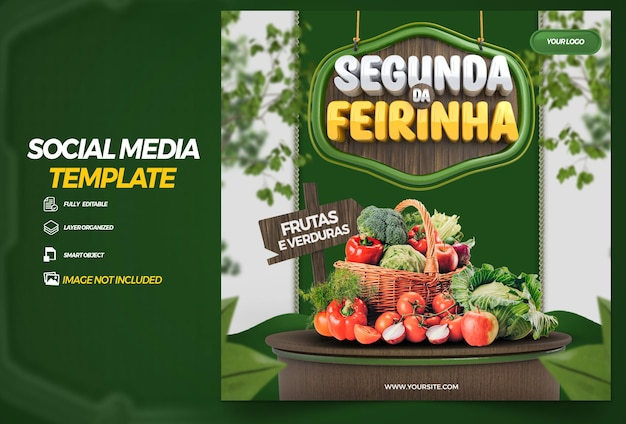 Post social media  monday of the vegetable composition for in brazil 3d render campaign