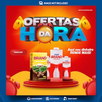 Post social media offers of the hour composition for general stores design portuguese brazil