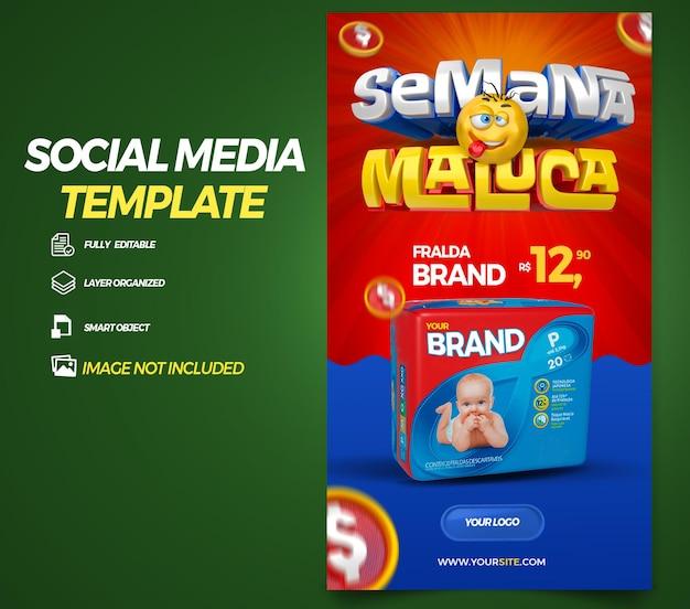 Post social media stories crazy week in brazil 3d render template design in portuguese