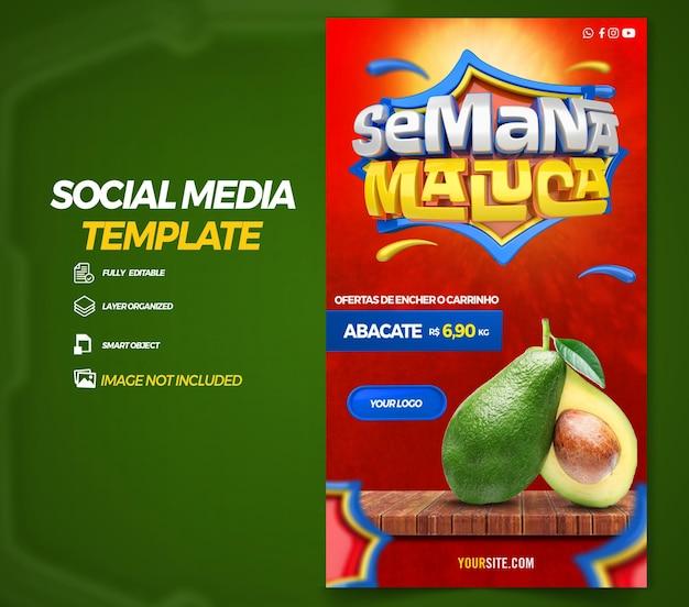 ポルトガル語でブラジルの3dレンダリングテンプレートデザインでソーシャルメディアストーリークレイジーウィークを投稿する