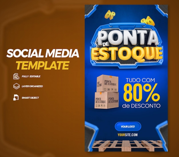 Post social media stories end of stock in brazil 3d render template design in portuguese