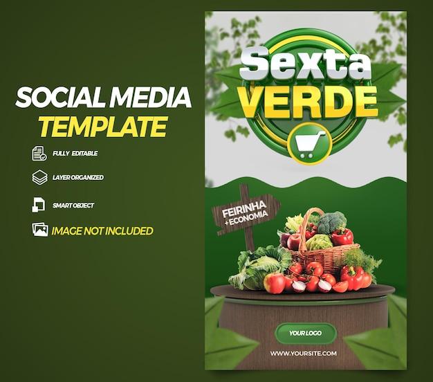 Post social media stories green friday in brazil 3d render template design in portuguese
