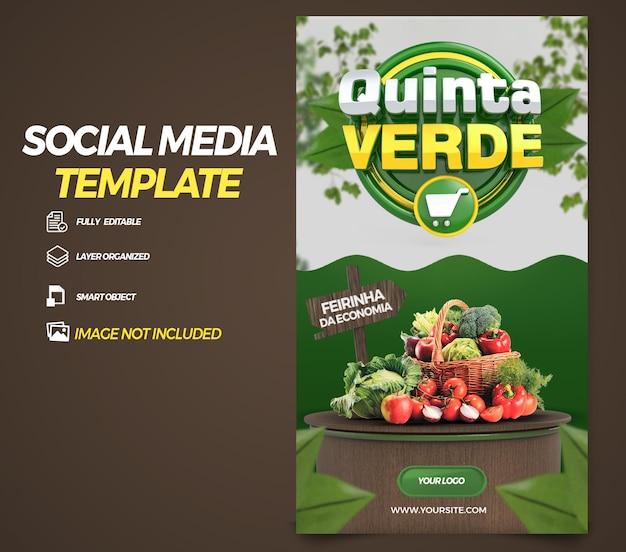 Post social media stories green thursday in brazil 3d render template design in portuguese