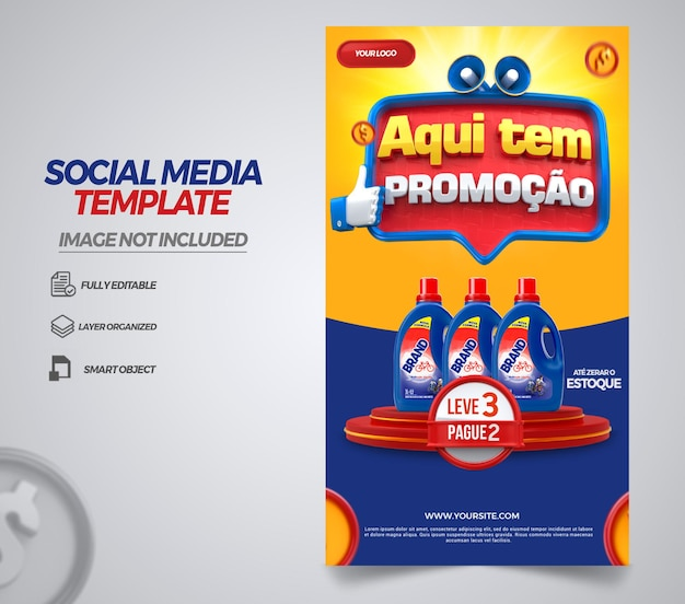 Post social media stories here is promotion in brazil 3d render template design in portuguese