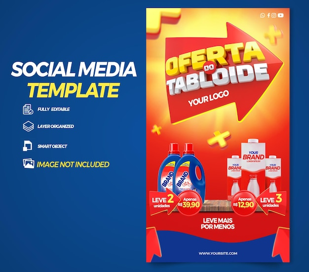 Post social media stories tabloid offers in brazil 3d render template design in portuguese