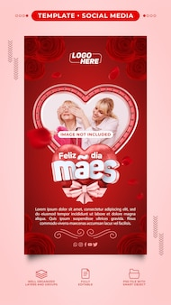 Post template stories instagram red happy mothers day for composition in brazil