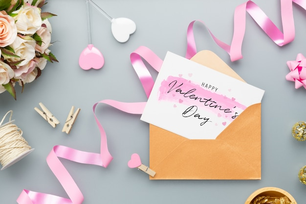 Postcard and envelope for valentine's day