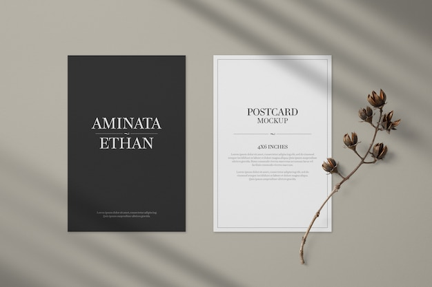 Postcard & invitation card mockup template