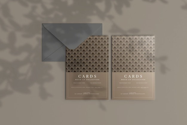 Postcard or invitation card mockup with flat corners