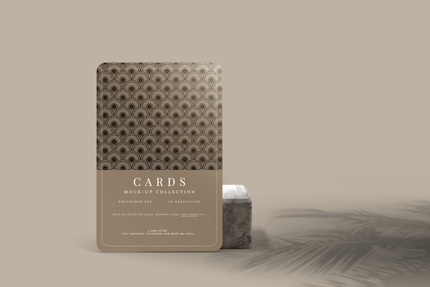 Postcard or invitation card mockup with rounded corners
