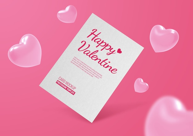 Postcard mockup for valentine with heart shapes