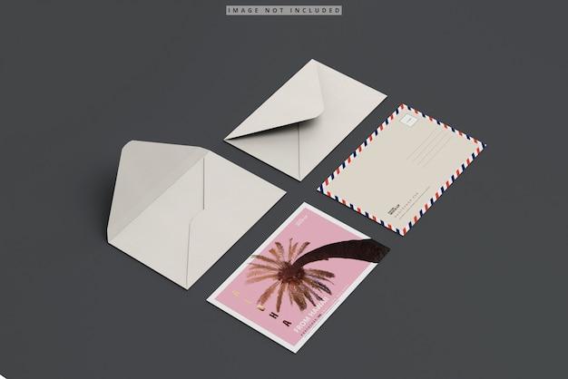 Postcard mockup with envelope