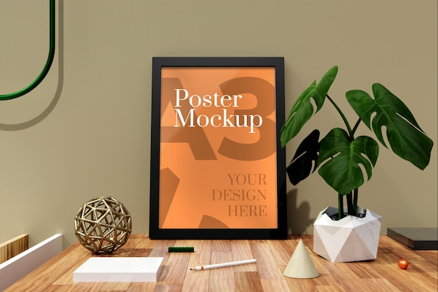 Poster a3 and photo frames mockup
