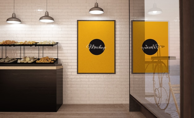 Poster on bakery wall mockup