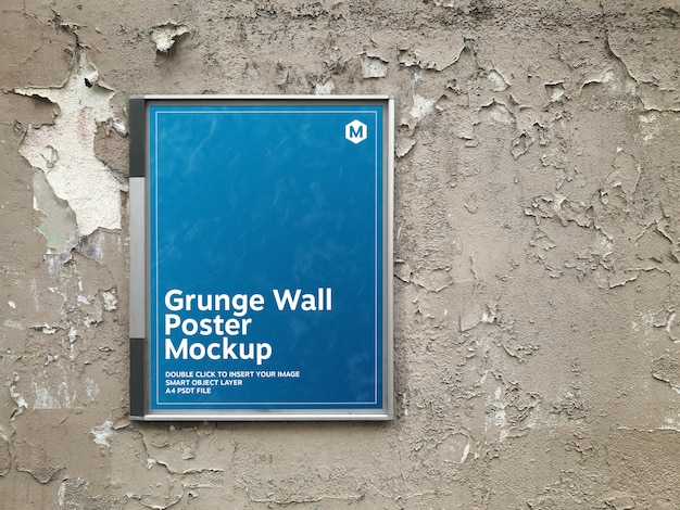 Poster in a billboard on a grunge wall mockup